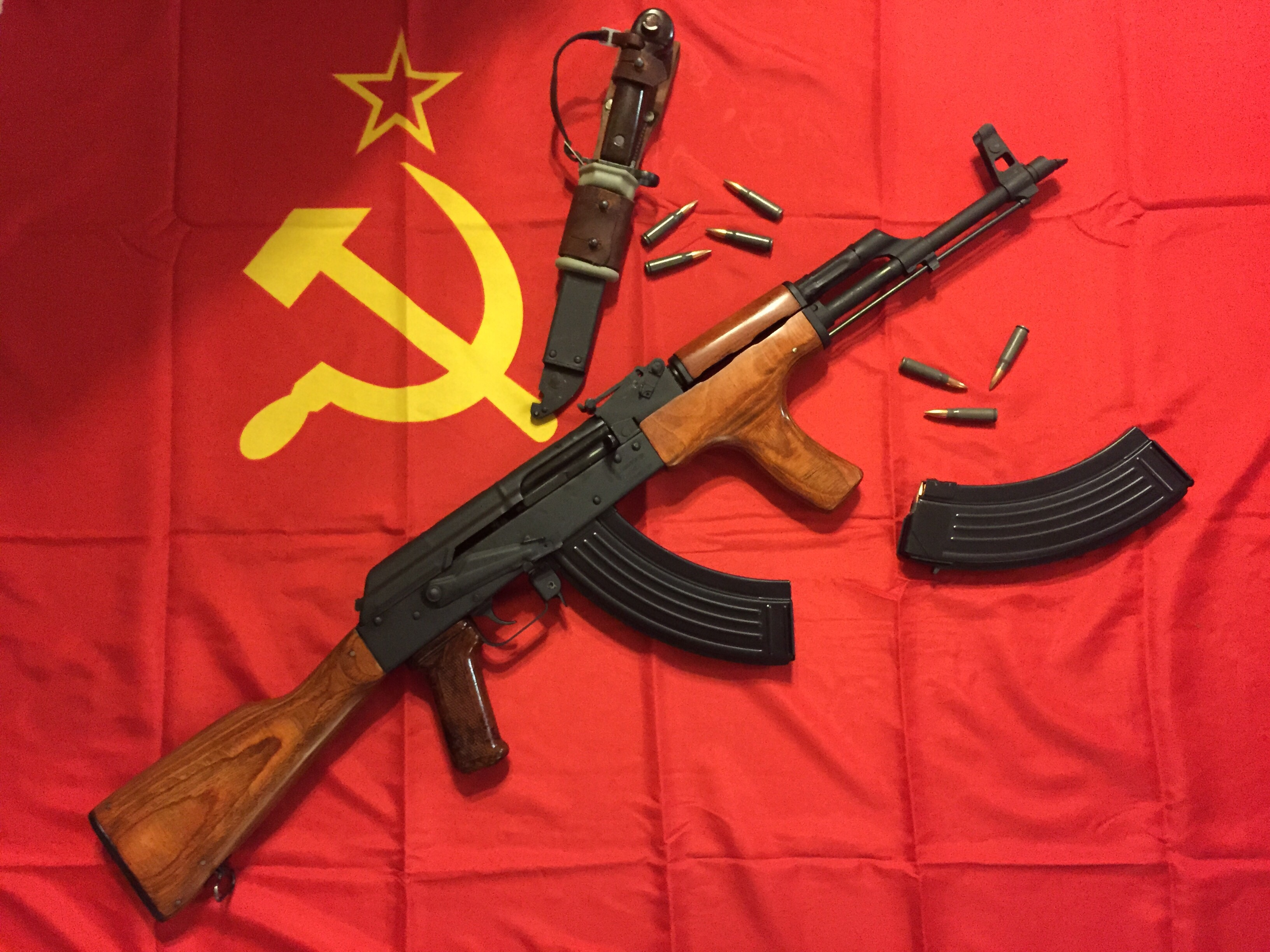 Wasr-10 with bayonet and donkey dong grip on soviet flag